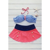 High Waisted Spaghetti Strap Stripe Swimsuit - Coloemix M