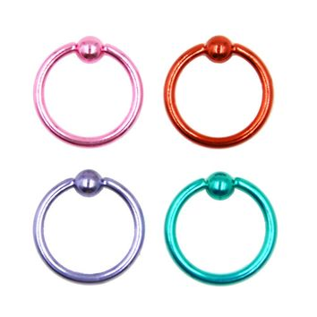 Luxury Anodized Colorful Captive Bead Rings