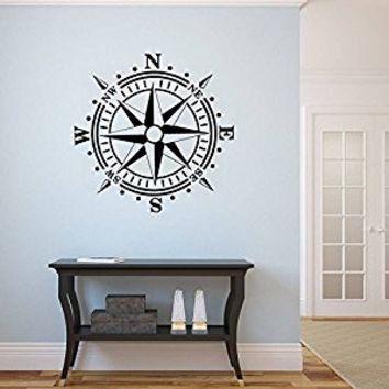 Wall Decal Vinyl Sticker Decals Art Decor Design Compass Rose Nautical Navigate Ship Ocean Sea Kids Nursery Bedroom Gift Dorm (r684)