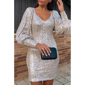 Apricot Metallic Puffy Sleeves Bodycon Sequin Dress