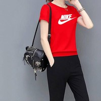 Nike Fashion Multicolor Sport Gym Pants Coat Set Two-Piece Sportswear