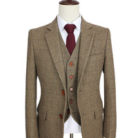 Men's Tailor Made Slim Fit Retro Brown Herringbone Tweed Custom Suit