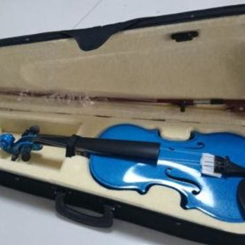 Student Acoustic Violin Size 1/4 Maple Spruce with Case Bow Rosin Teal Color