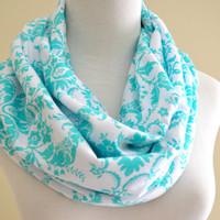 Tiffany Blue Damascus Infinity soft jersey loop scarf-Ready to ship