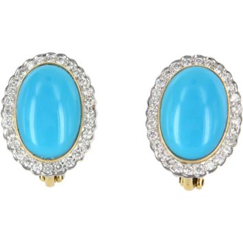Turquoise Diamond Vintage Oval Cocktail Earrings 18 Karat Yellow Gold Estate Jewelry