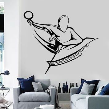 Vinyl Wall Decal Table Tennis Ping Pong Sports Stickers Mural Unique Gift (145ig)