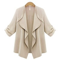 Trench Coat with Waterfall Drape in Cream not available