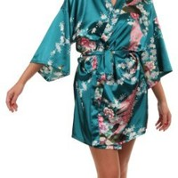 VEAMI Women's Kimono Robe, Peacock Design-Teal-Small/Medium, Short