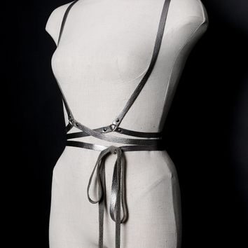 CLASSIC Leather Wrap Harness - SILVER