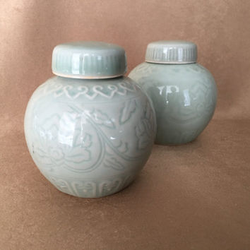 Celadon Ginger Jars, Small Size, Asian Design, Porcelain Jars, Lotus Blossom, Lidded, Mini Asian Vases, Candle Holders, Vintage Home Decor