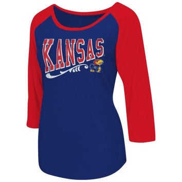 Kansas Jayhawks Swivel Raglan Long Sleeve T-Shirt – Royal Blue
