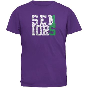 Graduation Seniors 2015 Green Purple Adult T-Shirt