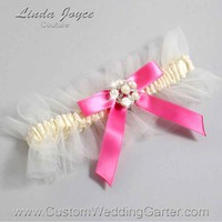 "Fuchsia and Ivory Tulle Pearl Bridal Garter ""Natalie 20"" Silver"