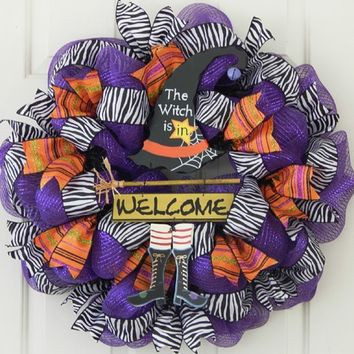Halloween Deco Mesh Wreath, Witch Hat, Welcome Witch Boots, Broom, Fun