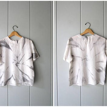 90s Silk Top White Grey Abstract Print Modern Vintage Top Short Sleeve Boxy Silk Blouse Crop Top Minimal Silk Tee Womens Small Medium