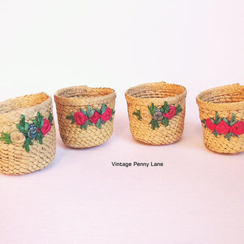 4 Vintage Woven Wicker Basket Cups with Flowers