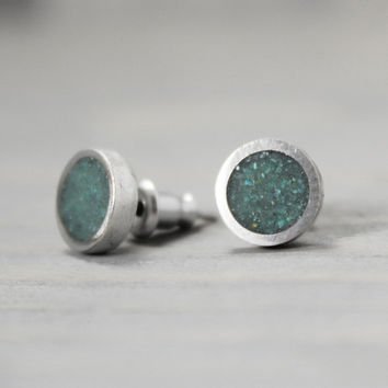 Turquoise Earrings, Silver Turquoise Earrings, Turquoise Jewelry,  Silver Earrings, Pewter Earrings, Personalized Earrings