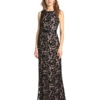 Adrianna Papell Women's Sleeveless Contrast Lace Mermaid Gown with Sash , Black, 6