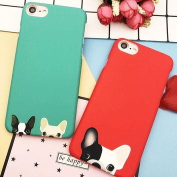 EKONE Cute Cartoon Animal Cat Dog Puppies Bulldog Case For iPhone 6 6S Plus 7 8 Plus Case Plastic Matte Cover For iPhone 7 Case