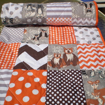 Modern Baby quilt,Grey,orange,brown,Patchwork crib quilt,baby girl or boy bedding,woodland,rustic,chevron,dot,bears,deer,owls,fox,Hello Bear