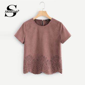 Sheinside Pink Scallop Laser Cut Out Blouse Solid Button Back Short Sleeve Top Summer Women Office Ladies Work Blouse