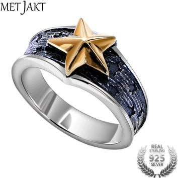Vintage Pentacle Ring Tail Ring Solid 925 Sterling Silver Star Ring for Men and Women