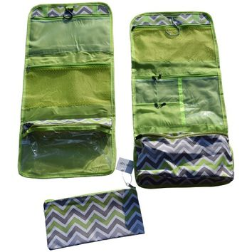 Set of 3 Toiletry Bags / Makeup Organizer / Cosmetic Bags / Portable Travel Kit Organizer / Bathroom Storage with Hangers (Green / Grey Chevron)