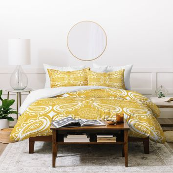 Heather Dutton Plush Paisley Goldenrod Duvet Cover