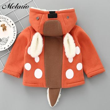 Melario Baby Outwear&Coats 2017 New Winter Baby Girls Clothes Baby Outerwear Infant Cartoon Coat Wave Printed Batwing Kids Coat