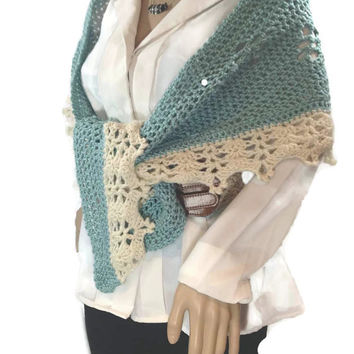 Outlander Claire Scarf French Lace Blue Narrow Shaweltte Aqua Crescent Fraser  Diana Gabaldon FREE SHIPPING