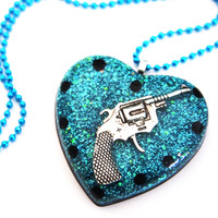 glamasaurus — Guns and Glitter Resin Heart Necklace