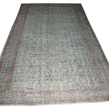Sale Light Aqua Green Overdyed Handmade Rug  with Allover Design  9'4'' x 5'8'' feet