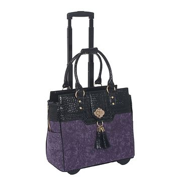"""THE CONTESSA"" Purple & Alligator Rolling Laptop Carryall Trolley Bag"