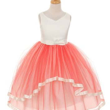 Coral Satin and Tulle Layered Dress with Satin Bow
