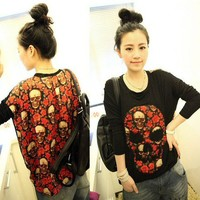 WOMEN PUNK SKULL PRINTING LONG-SLEEVE T-SHIRT TOP BLACK S/M