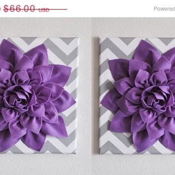 "MOTHERS DAY SALE Set Of Two Wall Decor -Lavender Dahlia on Gray and White Chevron 12 x12"" Canvas Wall Art- Baby Nursery Wall Decor-"