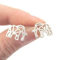Elephant Origami Outline Shaped Allergy Free Stud Earrings in Silver from DOTOLY