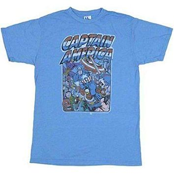 Junk Food Captain America Group Mens T-Shirt Size Medium