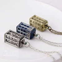 New Design Antique Dr DOCTOR WHO Buildings Telephone Booth  Retro Pendant & Necklace Men Women Necklace 3 Colors