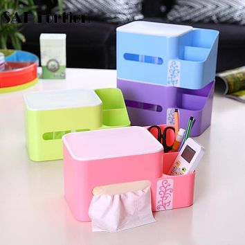 SAE Fortion Simple Plastic Tissue Box Holder Home Office Tools Multifunction Tissue Box Storage For Easy Life JK1282