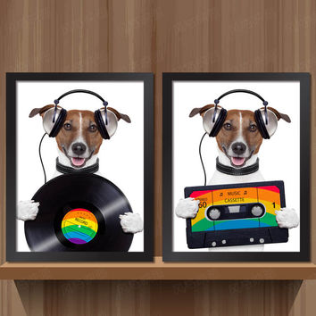 50 Shades of Hippy Jack Russell Canvas Pop Art Posters DIY Retro Vintage Wall Decor for Coffee Club Cafe Home Kitchen Restaurant Food Kiosk Bakery Bistro Pitshop Diners Freemantle Flea Market 28x23cm