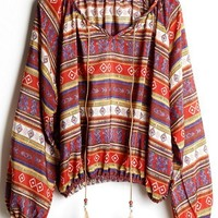 Tribal Drawstring Long Sleeve Blouse