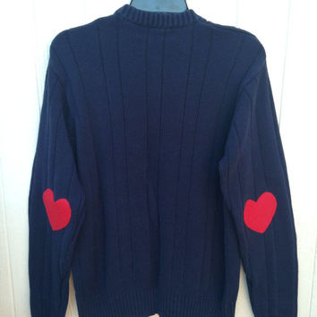 Navy sweater with heart elbow patches