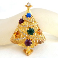 Vintage EISENBERG ICE Multi Colored Rhinestone Christmas Tree Pin Book Piece