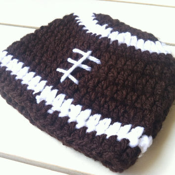 Boys Crocheted Football Hat-White & Brown Hat- Crocheted Hat Sz NB-PreTeen