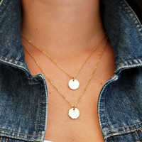 Classic and Trendy Double Round Charm Pendant with Double-Strand Necklace For Women. Great Gift for Her
