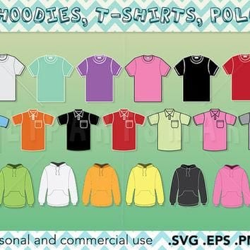 Hoodies, t shirts and polo shirts bulk clipart, clothing clipart Vector art, Raster im