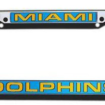 Miami Dolphins LASER FRAME Chrome Metal License Plate Cover Tag Football