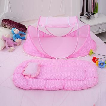 3pcs/Set Pink Baby Bedding Crib Netting Folding Baby Music Mosquito Nets Bed Mattress Pillow Baby Crib for Baby Bed Accessories