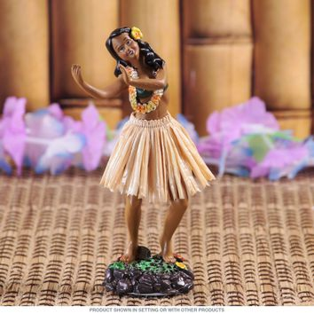 Dancing Dashboard Hula Doll Tan Skirt
